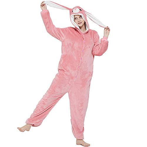 ANBOTA Easter Bunny Costume Rabbit Onesie for Adult Women Men Halloween Pajama (X-Large, Pink Bunny)