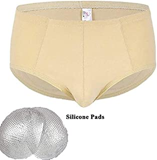 Men's hip pants breathable honeycomb fake hips hip pants beautiful hip pants fake ass Butt Lifter Underwear Foam Padded Butt Enhance Boxer Briefs 1cm honeycomb hip pad,Flesh,S