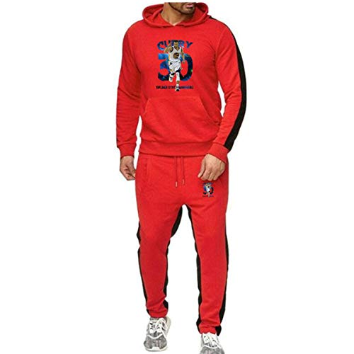 Heren 2 stuks Sets Golden State Warriors Curry No. 3 Trainingspak Heren Herfst Winter met capuchon + Koord Pants Man Sweaters Basketball Training Kleding,Red,S