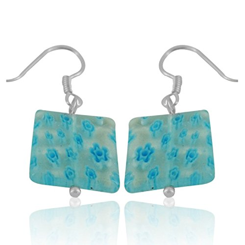 Chic-Net Pendientes Corazón de cristal de Murano luz azul flores de colores patrón de plata 925
