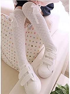 Lovely Socks Children Cotton Mesh Socks Kids Spring and Autumn Bow-Knot Rhombus Grid Long Tube Socks(White) Newborn Sock (Color : Navy)