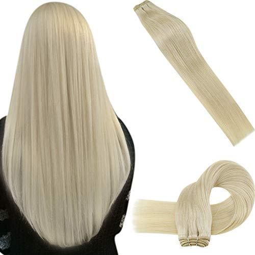 LaaVoo Extensions Tressen Echthaar Einnähen Blond 100G Echthaar Extensions Weaving Tressen Blond Remi Brasilian Sew in Weave Strähnchen Menschenhaarverlängerung 100Gramm #613 24 Zoll/60cm