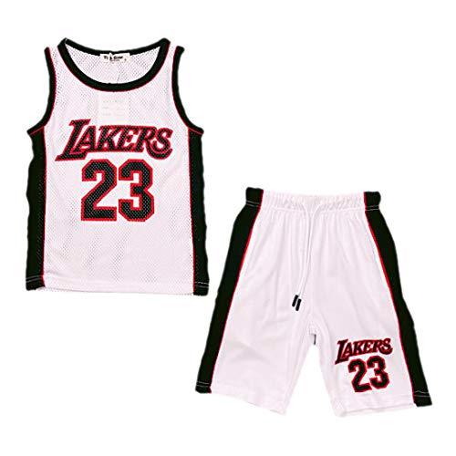 Baloncesto Shorts Verano Chicos Nouveautés Niñas Top Chaleco Kit Set Color: Lakers Blanco - Tamaño: 7-8 años