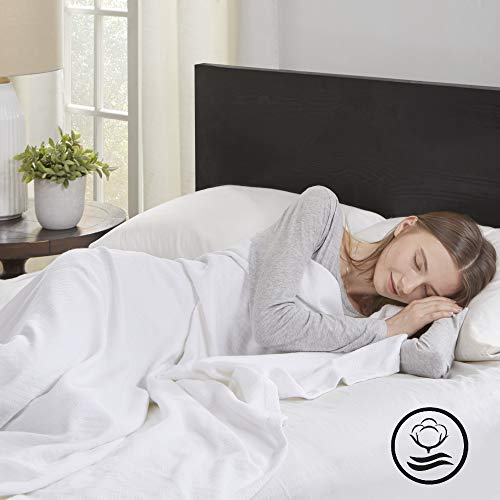 Madison Park Liquid Luxury Blanket Premium Soft Cozy 100% Ring Spun Cotton For Bed, Couch or Sofa, King, White