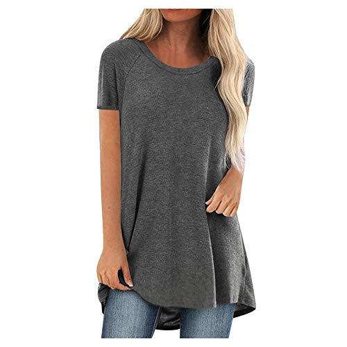 YEBIRAL Longshirt Damen T Shirt Sommer Rundhals Kurzarm-Sweatshirt Pullover Oberteil Lose Einfarbig Beiläufig Bluse Tunika Tops Große Größe