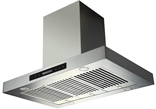 """EKON NAIS02-36"""" Island Mount Range Hood for Kitchen Room 900 CFM / 2 Pcs 4 Speeds Touch Control LCD Display With Remote / 4 Pcs 3W Led Lamp / 3 Pcs Baffle Filter (T Shape Island Mount Range Hood)"""