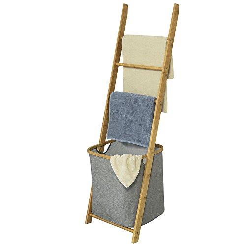 SoBuy® FRG263-N Freistehender Handtuchhalter, Handtuchleiter, Badregal mit 3 Handtuchstangen und Wäschebeutel, BHT ca.: 43,5x138x28cm