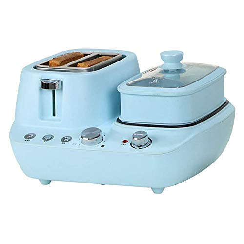 4-In-1-Frühstücksmaschine, Elektrische Multifunktions-Toaster-Brotmaschine Edelstahl-Dampfgarer Ofen-Eierbratpfanne Antihaft-Topf 7 Gang, 15 Minuten Zeitmessung,Blau