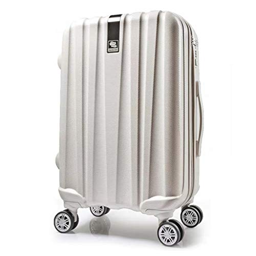ZHJ Hanke Town store treasure hard box universal wheel trolley case 20 inch suitcase 24 inch male suitcase female boarding chassis Luggage Sets (Color : White, Size : 22)