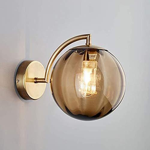 YPLDM Copa de Vidrio Globe Wall Sconence, Lámpara LED de latón cepillada, Lámparas de Pared Decorativas de Cobre para la Cama, Restaurante, Dormitorio, Tienda de Ropa (Rojo),Oro