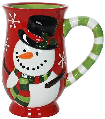 Snowman Magic - Christmas Themed Ceramic Glossy 17 oz Mug With Large Handle (Microwave and Dishwasher Safe)