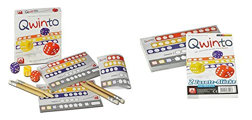 Qwinto Würfelspiel-Set, mit dem Spiel Qwinto und Ersatzblöcke mit insgesamt 160 Blatt
