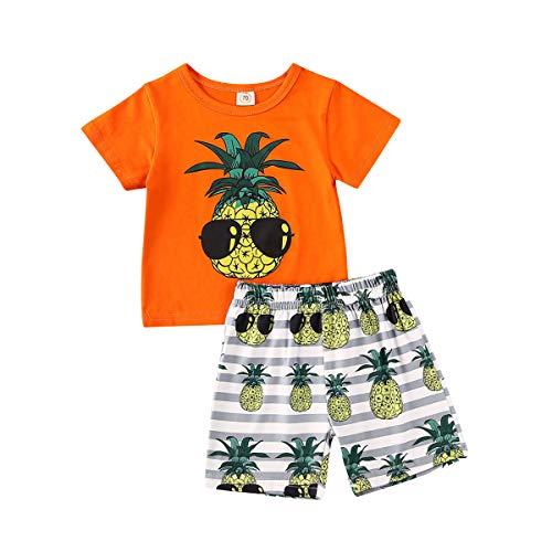 Vavshop Neugeborene Baby Jungen Kurzarm Oberteil Ananas Druck T-Shirt Hose Sommer Strand Outfit Set Gr. 86, Orange