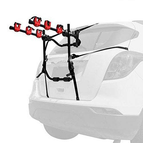 Bike Trunk Mount Rack, Car Bike Rack, Trunk or Hitch Carrier, Can Mount 3 Bicycles, Iron Round Tube Frame, ABS Plastic Connection Structure, Alloy...