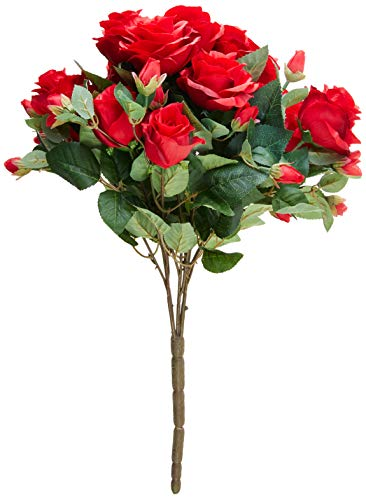 Admired By Nature GPB7338-DEEP RD 5 Stems Faux 15 Head Rose Bud Flower Bush, Deep Red