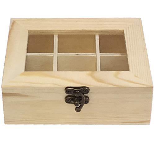 Caja de Madera 6 Compartimentos con Tapa de Cristal