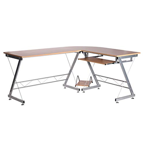 "HomCom 67"" Wood Corner L-Shaped Computer Desk with Keyboard Tray - Natural Brown"