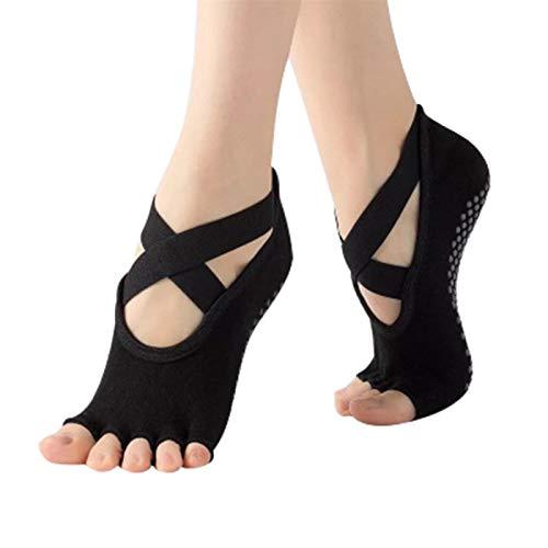 Calcetines de yoga Calcetines de ciclismo transpirables sin fisuras para mujeres calcetines de medalidad de medias para ballet (Color : Black)