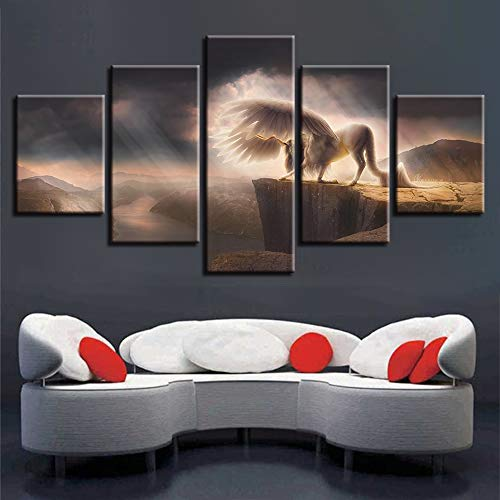 Canvas Wall Art Decor Kamer HD Gedrukt 5 Stuks Dier Wit Paard Met Vleugels Foto Berg Rivier Landschap Schilderijen Modulair