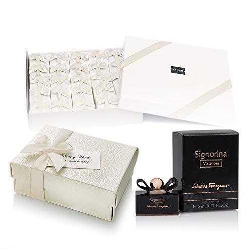 NUPTALIA Pack 20 Mini perfumes de Mujer como Detalles de Boda para Invitados Ferragamo Signorina Misteriosa Eau de Parfum 5 ml. Original Personalizado