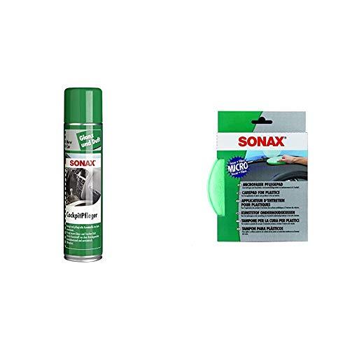 SONAX CockpitPfleger New Car (400 ml) reinigt und pflegt alle Kunststoffteile & MicrofaserPflegePad (1 Stück) für gleichmäßiges Auftragen von Kunststoffpflegemitteln und ein gründliches Ergebnis