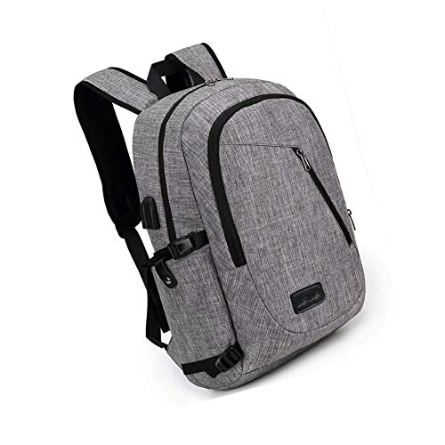 Laptop Backpack Mens Water Resistant Travel with Usb Charging Port Grey