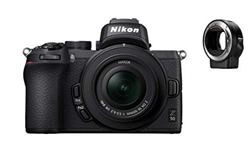 Nikon Z 50 Spiegellose Kamera im DX-Format mit Nikon 16-50mm 1:3,5-6,3 VR und FTZ-Adapter (20,9 MP, OLED-Sucher 2,36 Mill. Bildpunkten, 11 Bilder pro Sek., Hybrid-AF mit Fokus-Assistent, 4K UHD Video)
