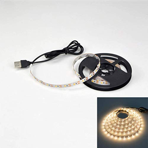 LED テープライト USB対応 2m SMD3528 5V LEDテープ 電球色 昼光色 間接照明 棚下照明 テレビの背景照明用LED (電球色, 50cm)