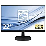 philips monitor 223v5lhsb2 monitor lcd-tft per pc desktop 21,5 led, full hd, 1920 x 1080, 5 ms, hdmi, vga, attacco vesa, nero
