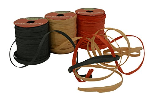 Raffia String / Ribbon, 1/4' x 49 Feet each spool, Pack of 3 spools