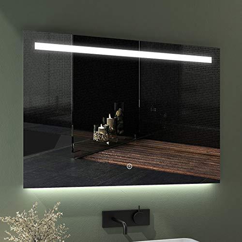 EMKE LED Badspiegel 100x70cm Badspiegel mit Beleuchtung kaltweiß Lichtspiegel Badezimmerspiegel Wandspiegel mit Touchschalter, beschlagfrei, IP44 energiesparend