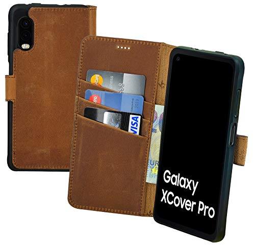 Suncase Book-Style Hülle kompatibel mit Samsung Galaxy Xcover Pro Leder Tasche (Slim-Fit) Lederhülle Handytasche Schutzhülle Hülle mit 3 Kartenfächer in antik-Coffee