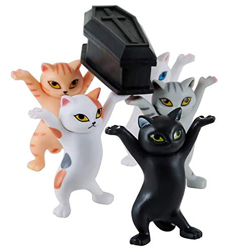 Zenyoumei Dancing Cute Cat Coffin Dance Figure Action Funeral Dancing Team Display Toy, El Gato levantó el ataúd Dancing Pallbearers, portalápices. (Type A)