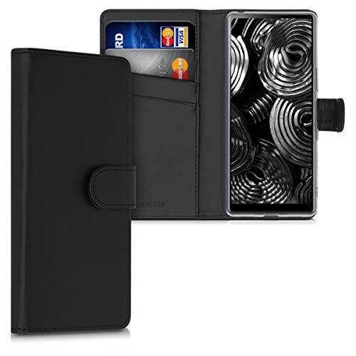 kwmobile Wallet Hülle kompatibel mit Sony Xperia L4 - Hülle Kunstleder mit Kartenfächern Stand in Schwarz