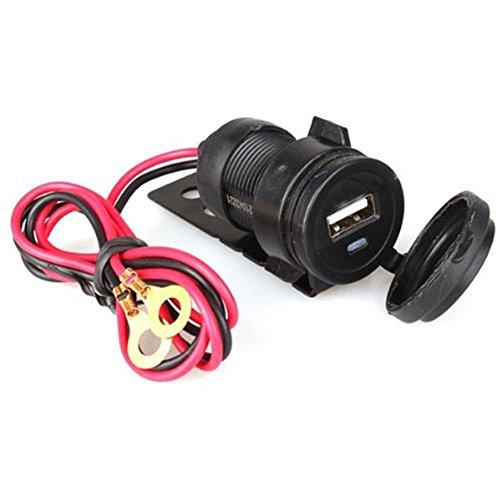 Carviya 2.1 A étanche pour moto chargeur de voiture USB Port d'alimentation Socket support 12 V-24 V 0,6 m câble (Noir)