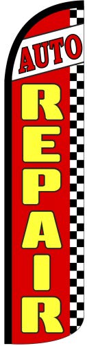Auto Repair Windless Swooper Tall Feather Banner Flag (3ft x 11.5ft) by The Flag Depot