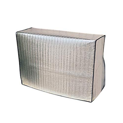 Vosarea - Cubierta de aire acondicionado para aparatos de exterior, lámina de aluminio ajustable, protección solar de CA para aparatos eléctricos grandes al aire libre, Plateado