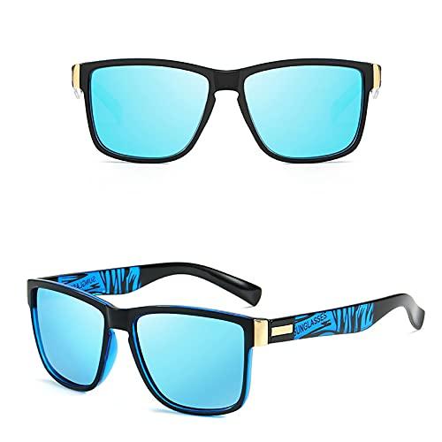 APCHY Gafas De Sol Deportivas Polarizadas Hombre Mujer Protección UV400 Conduciendo De Viaje Gafas De Moda Vintage,Azul