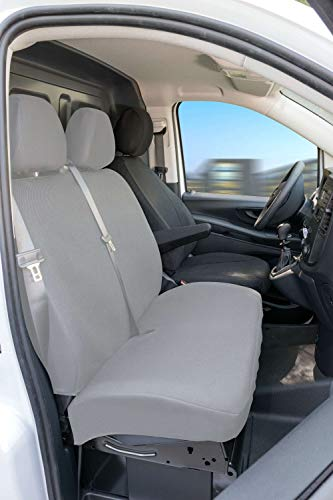 Walser 10533 Vito 447 pasvorm stoelhoezen enkele stoel bestuurder voorzijde met armleuning binnenin van stof vanaf bouwjaar 06/2014-heute, antraciet