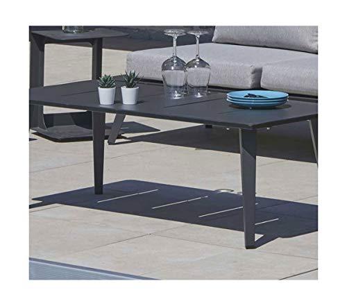 PEGANE Table Basse Salon de Jardin en Aluminium, Coloris Anthracite - 120 x 60 x 42 cm
