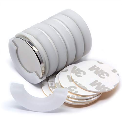 6 Sets Super Powerful Neodymium Magnets Dia 1.26x1/8 w/ 3M Adhesives   Strong Disc Rare Earth Magnets in Non-Shattering Packages for Fridges, Crafting, Iron Filing Demo, Science & DIY Projects