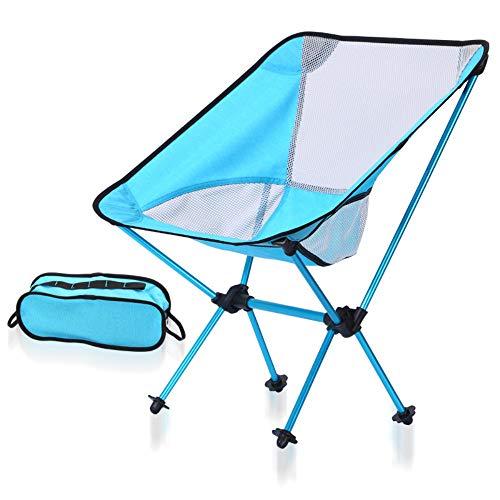 WRF Chaise de Camping Pliante - Chaise de Sac à Dos Pliable en Aluminium Ultra-compacte Camp/Parc/Pique-Nique/Festival/Extérieur/Plage Moon Chair Ideal (Bleu)