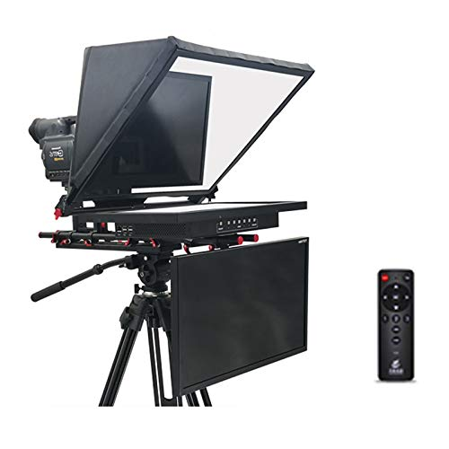MEILINL 21' Teleprompter Portable Inscriber Mobile Teleprompter with HD Beamsplitter Glass Remote Control And Built-In Embedded Host for Radio And Television Stations Schools Enterprise,dual screen