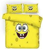 ZZALL Juego de ropa de cama para niños, diseño de Bob Esponja, ropa de cama de 3 piezas algodón, ropa de cama 3D de franela de algodón, funda nórdica de microfibra, A1., 135 x 200 cm