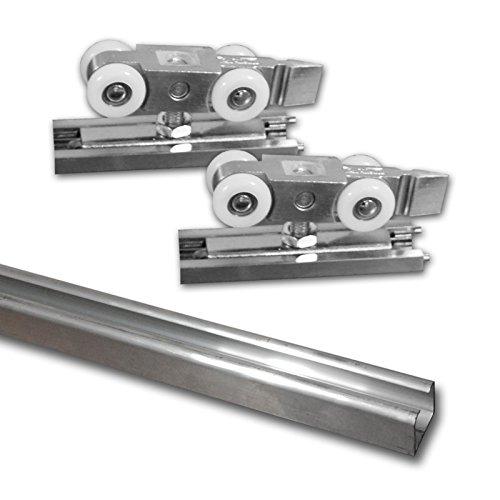 Beschlagset für Schiebetür (100 kg) inkl. Laufschiene 3m, aluminium