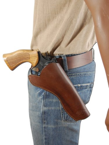 Barsony New Brown Leather Cross-Draw Gun Holster for 6 inch Revolvers (S&W N 629 M&PR8, Right)
