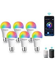 Aigostar Smart WiFi-bulb A60 E27-fitting, werkt met Alexa en Google Home, van kleur te veranderen, 9W LED-lampen, dimbaar 3000K-6500K wit en RGB-bulb, geen hub vereist, Set van 6 stuks [energieklasse A+]
