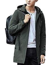 JHIJSC ジャケット メンズ ロング コート 秋冬 ビジネス カジュアル 無地 フード付き 防風 防寒 大きいサイズ