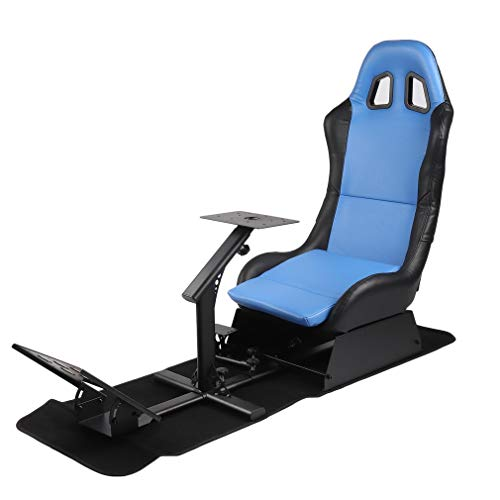 Racing Video Game Chair - Driving Racing Simulator Seat with Racing Wheel Stand Cockpit & Pedal Controllers, Fits All Logitech G923 | Compatible with Xbox One, PS4 (Blue)