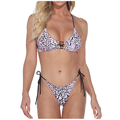 VCAOKF Costume da bagno da donna, a due pezzi, con motivo leopardato, con stampa e reggicalze sexy, set di costume da bagno imbottito, taglie S/M/L/XL Lilla M